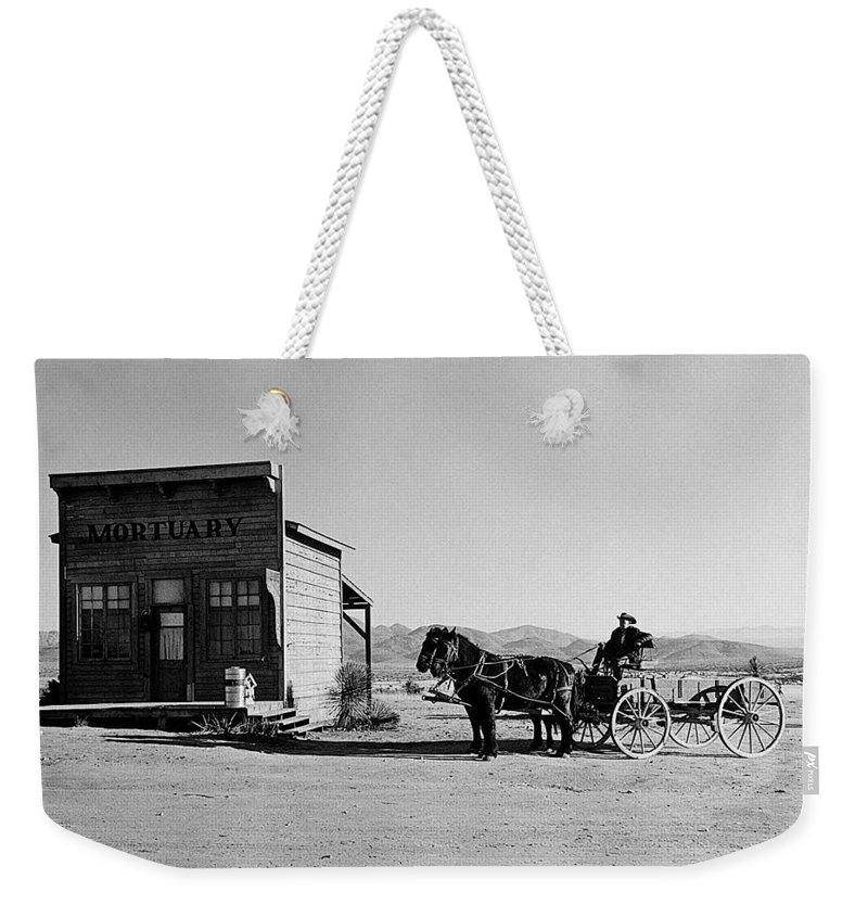Texas Terror Homage Dirty Dingus Magee Set Mescal Arizona Horses Wagon Mortuary Black And White John Wayne Weekender Tote Bag featuring the photograph Texas Terror Homage 1935 Dirty Dingus Magee Set Mescal Arizona by David Lee Guss