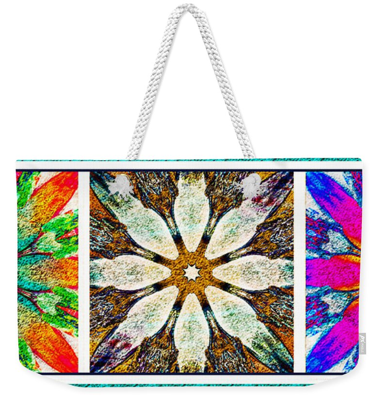 Textured Flower Kaleidoscope Triptych Weekender Tote Bag featuring the photograph Textured Flower Kaleidoscope Triptych by Barbara Griffin