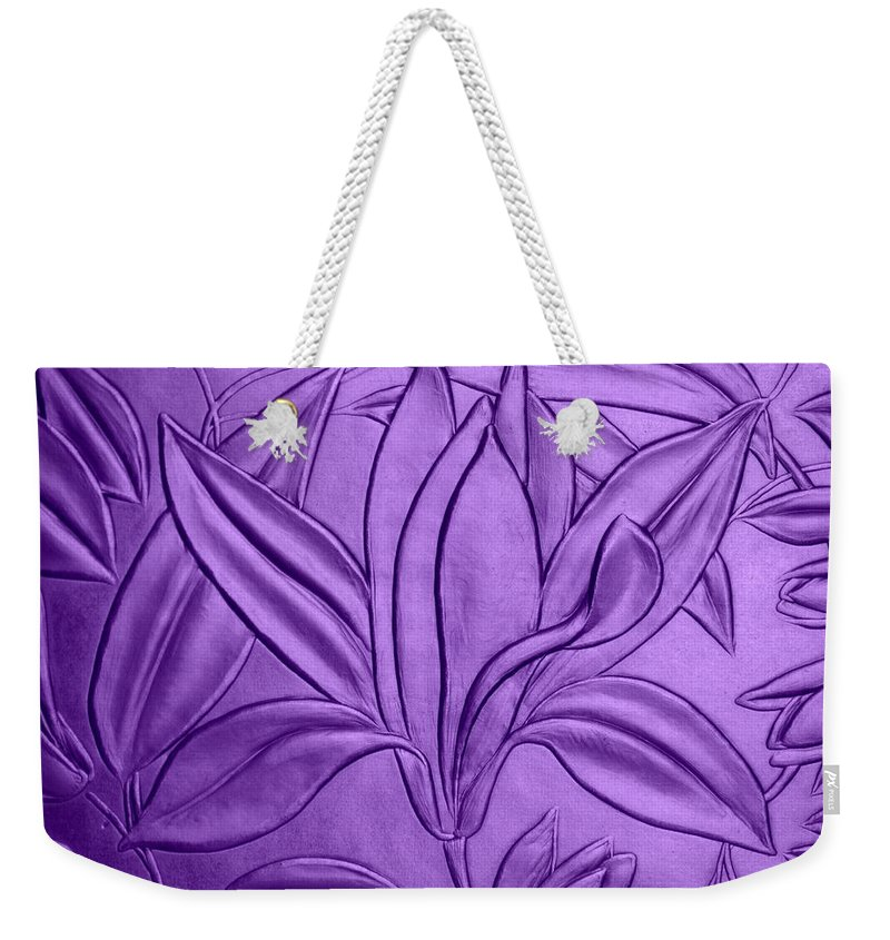Texture Weekender Tote Bag featuring the photograph Textured Flower by Riad Belhimer