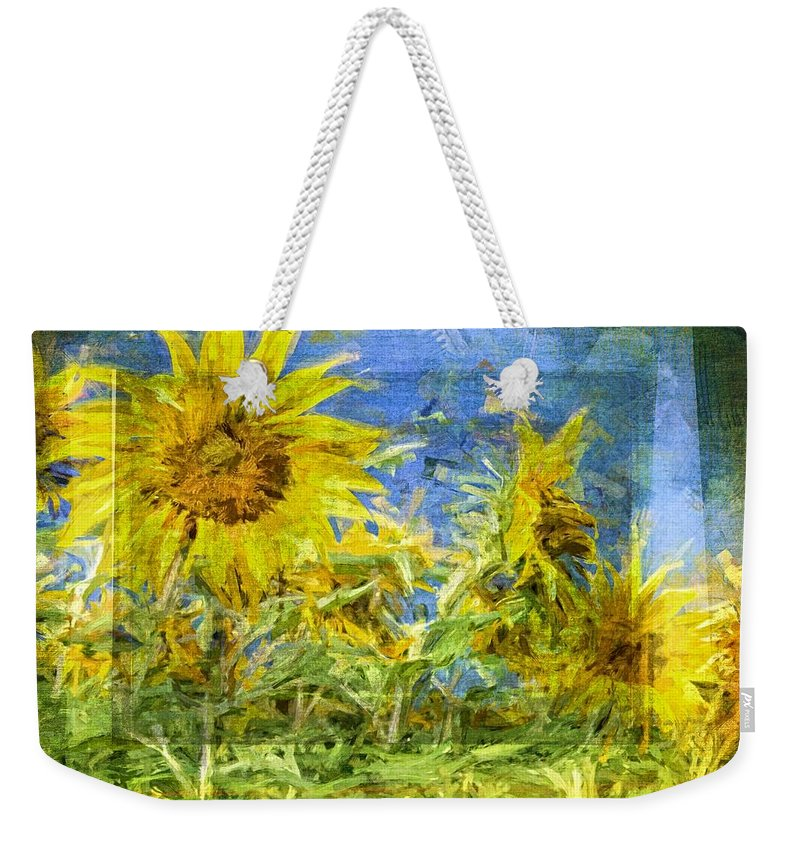 Sunflowers Weekender Tote Bag featuring the photograph Textured Suns by Alice Gipson
