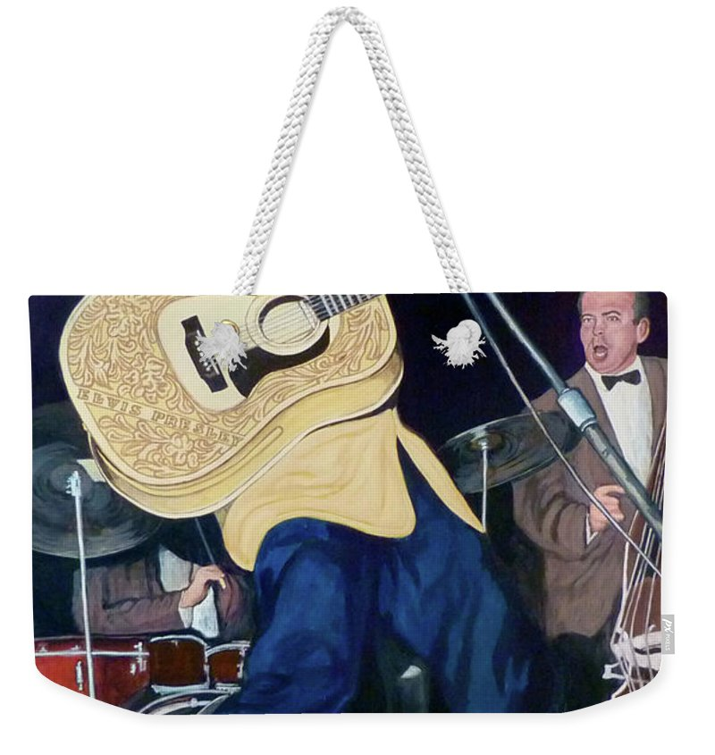 Elvis Presley Weekender Tote Bag featuring the painting Thank You Very Much by Tom Roderick