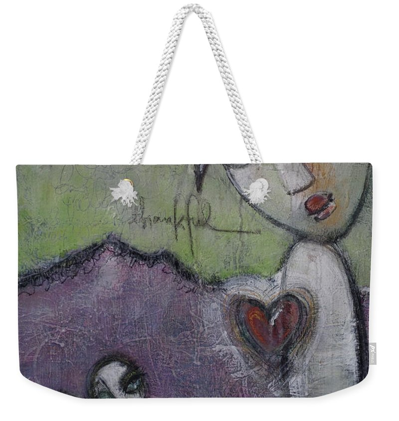 Love Weekender Tote Bag featuring the painting Thankful. 2013 by Laurie Maves ART