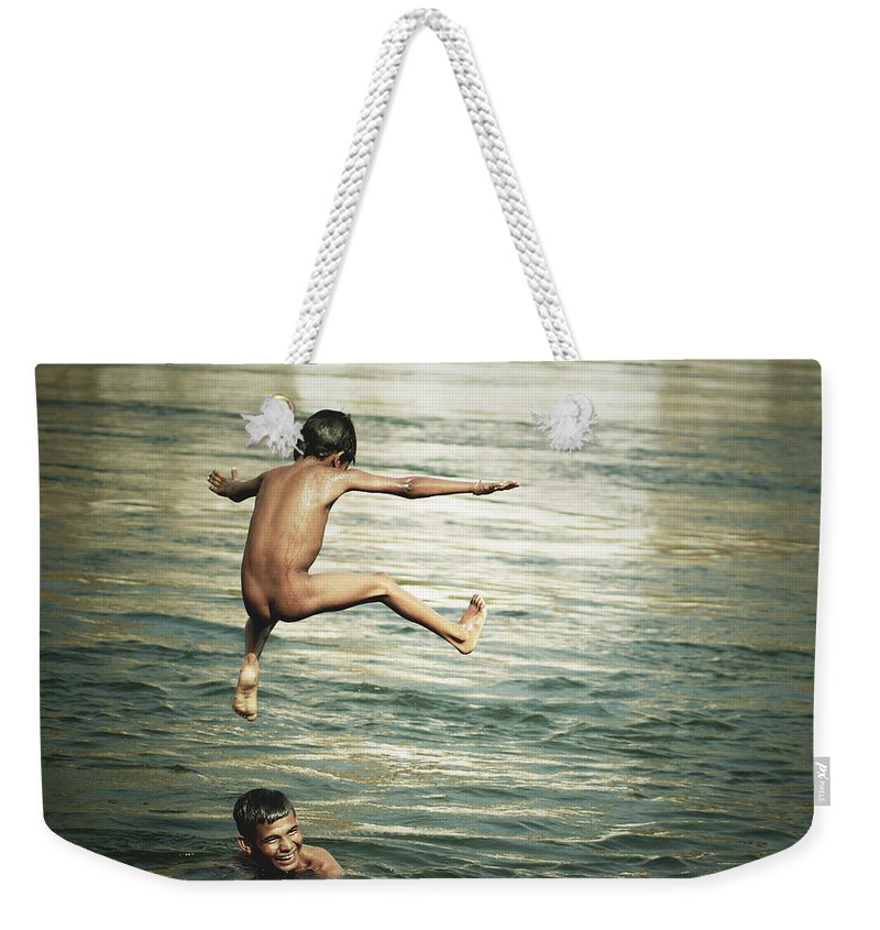 Boys Weekender Tote Bag featuring the photograph That Was A Great Day by Valerie Rosen