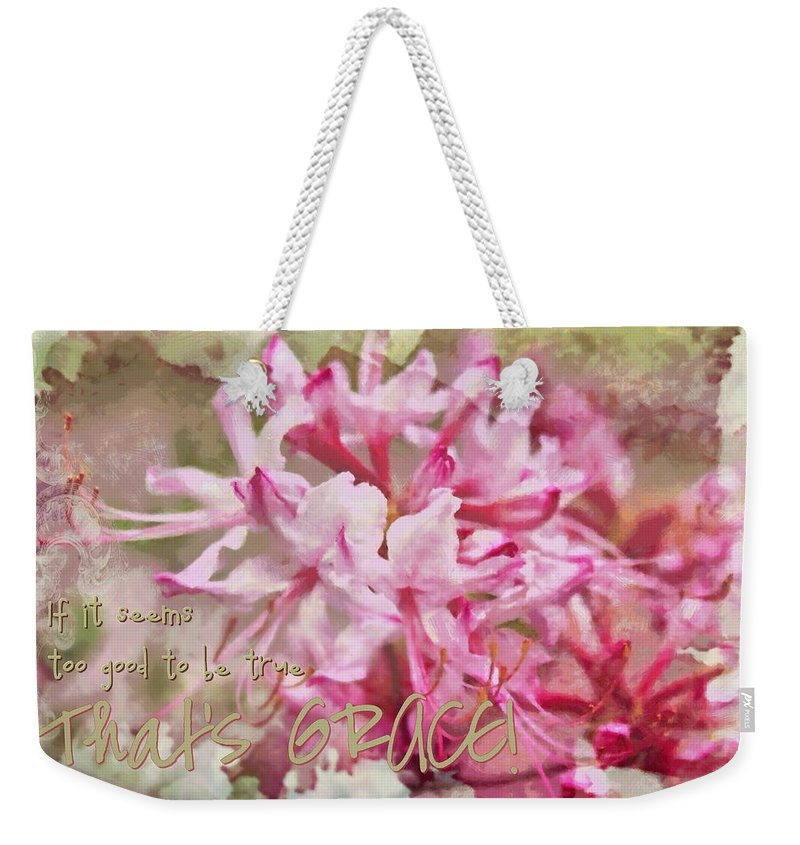 Jesus Weekender Tote Bag featuring the digital art Thats Grace by Michelle Greene Wheeler