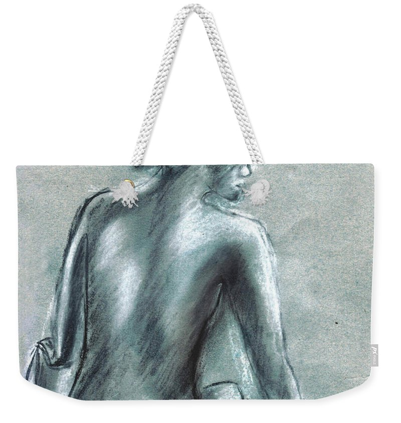 Nude Weekender Tote Bag featuring the drawing The Actress by Tom Conway