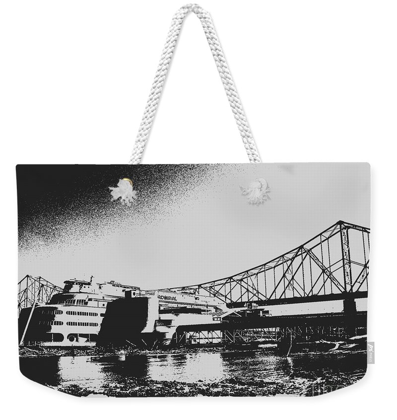 Weekender Tote Bag featuring the photograph The Admiral And President's Casino In Ink Stamp by Kelly Awad