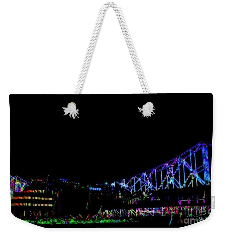 Weekender Tote Bag featuring the photograph The Admiral In Neon by Kelly Awad