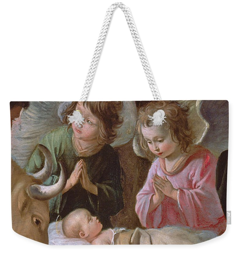 Le Nain Weekender Tote Bag featuring the painting The Adoration by Le Nain