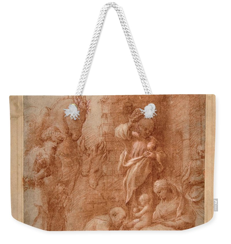 Correggio Weekender Tote Bag featuring the drawing The Adoration Of The Magi by Correggio