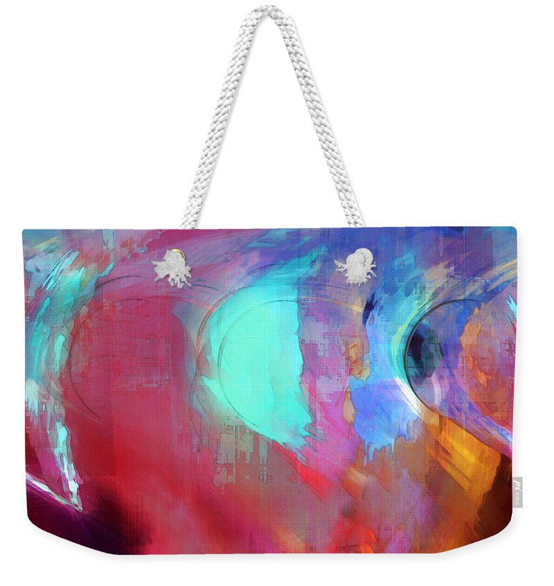 Abstract Weekender Tote Bag featuring the digital art The Afterglow by Linda Sannuti