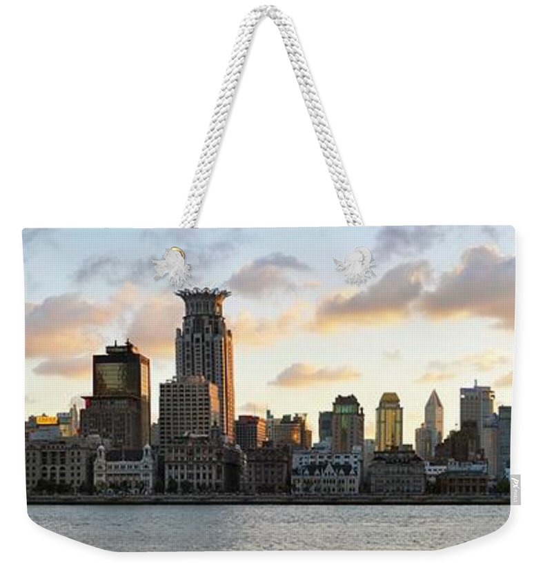 Panoramic Weekender Tote Bag featuring the photograph The Afternoon Of The Bund Buildings by Fine