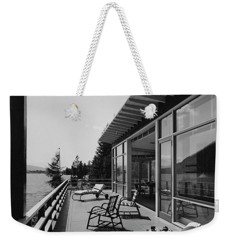 Architecture Weekender Tote Bag featuring the photograph The Alfred Rose Lake Placid Summer Home by Robert M. Damora