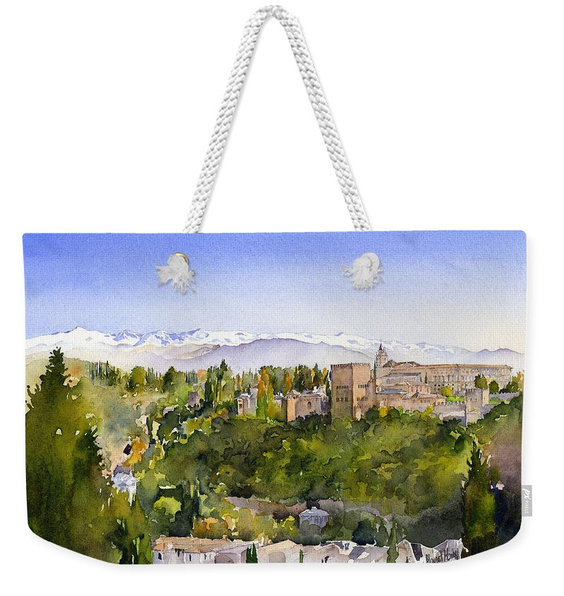 Watercolour Weekender Tote Bag featuring the painting The Alhambra Granada by Margaret Merry