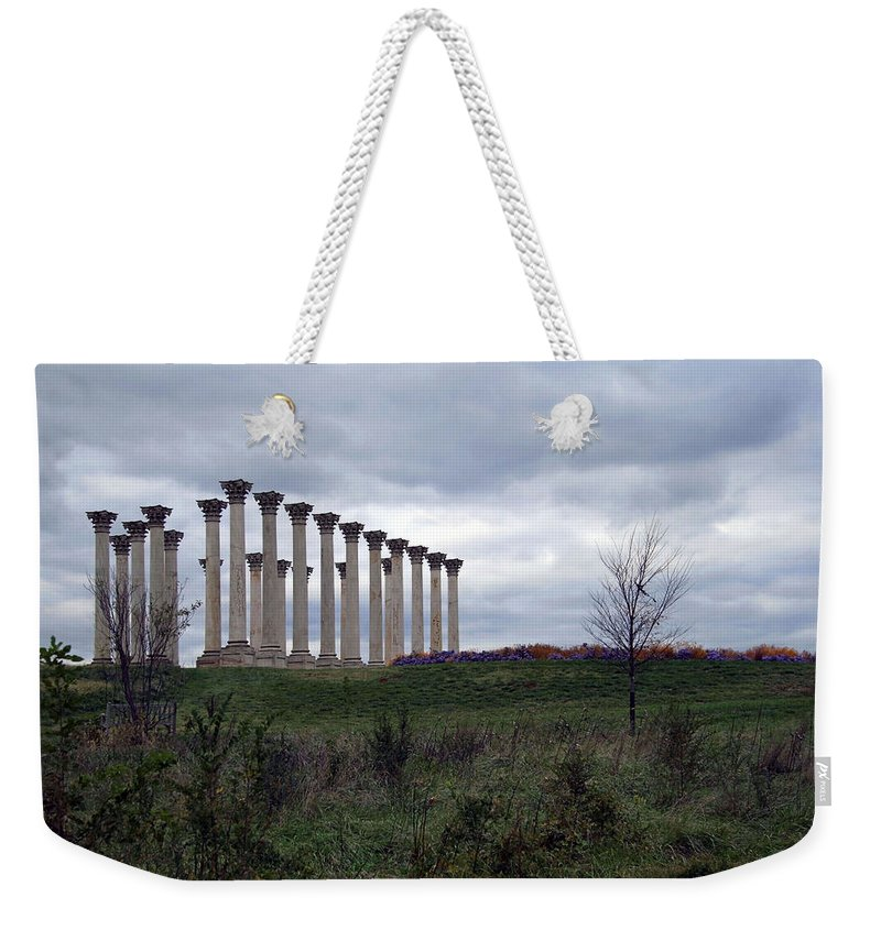 Capitol Columns Weekender Tote Bag featuring the photograph The Almost Forgotten Columns -- 2 by Cora Wandel