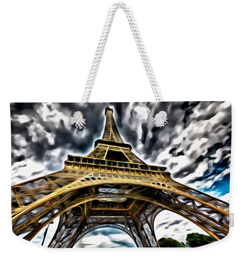 Symbol Weekender Tote Bag featuring the painting The Amazing Eiffel by Florian Rodarte