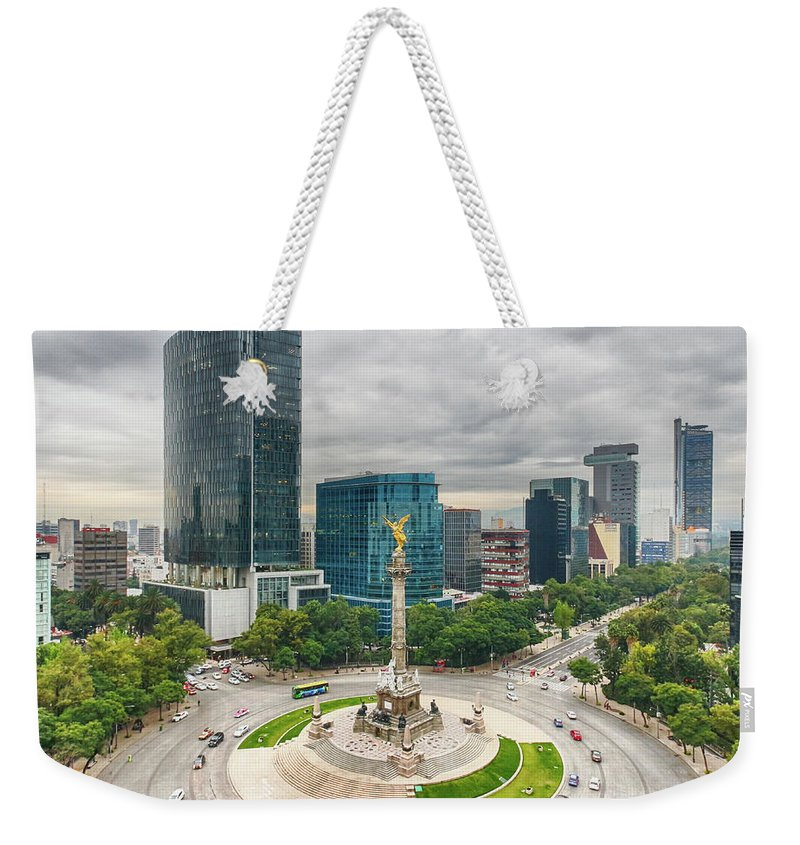 Mexico City Weekender Tote Bag featuring the photograph The Angel Of Independence, Mexico City by Sergio Mendoza Hochmann