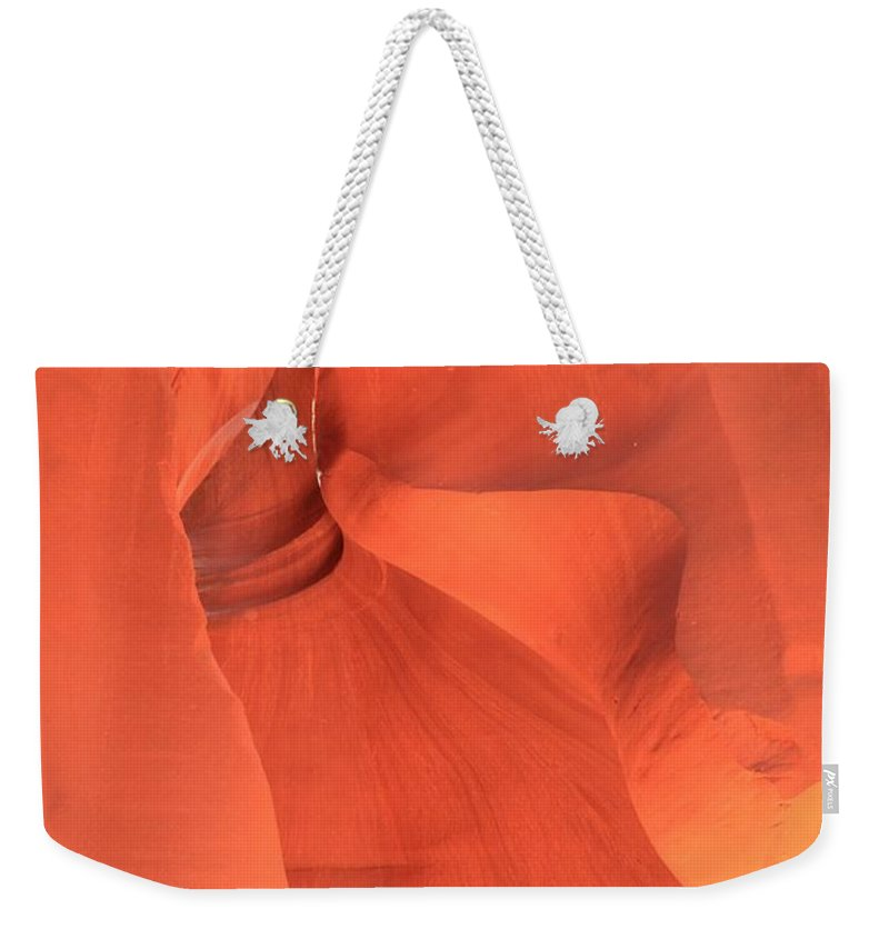 Arizona Slot Canyon Weekender Tote Bag featuring the photograph The Antelope Slide by Adam Jewell