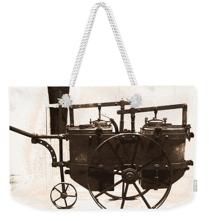 Machine Weekender Tote Bag featuring the digital art The Antique Farming Machine by Gina Dsgn
