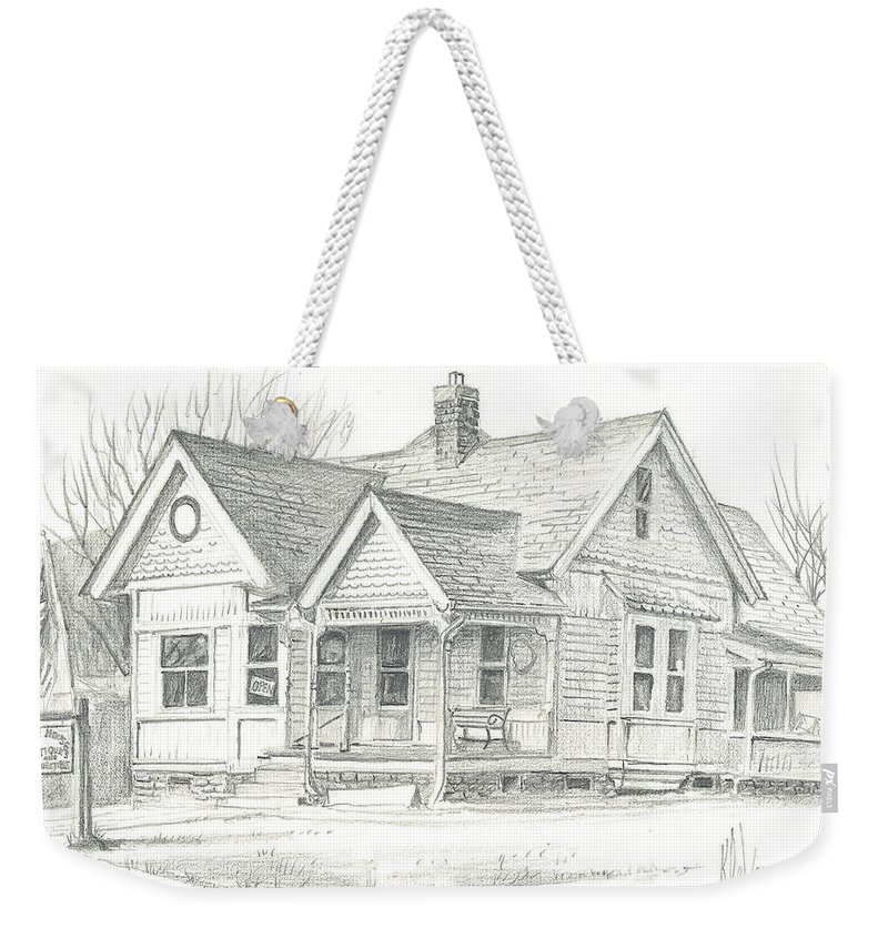 The Antique Shop Weekender Tote Bag featuring the drawing The Antique Shop by Kip DeVore