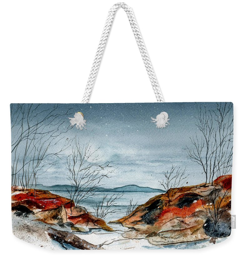 Watercolor Weekender Tote Bag featuring the painting The Approaching Evening by Brenda Owen
