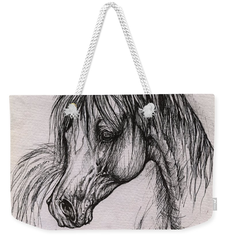 Arabian Horse Weekender Tote Bag featuring the drawing The Arabian Horse With Thick Mane by Angel Ciesniarska