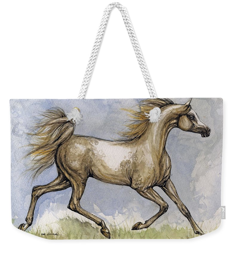 Mare Weekender Tote Bag featuring the painting The Arabian Mare Running by Angel Ciesniarska