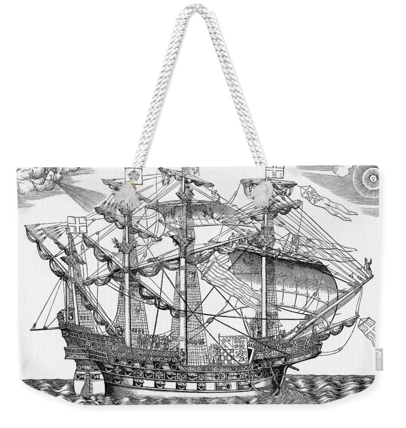 Ship Weekender Tote Bag featuring the drawing The Ark Raleigh The Flagship Of The English Fleet From Leisure Hour by English School