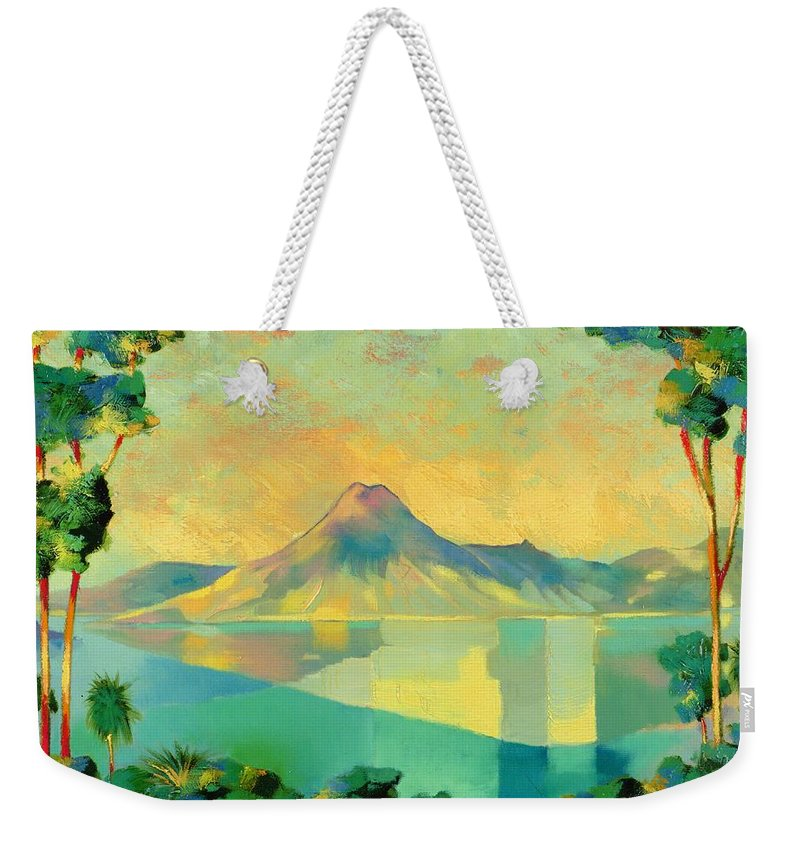 Lake Atitlan Weekender Tote Bag featuring the painting The Art Of Long Distance Breathing by Andrew Hewkin
