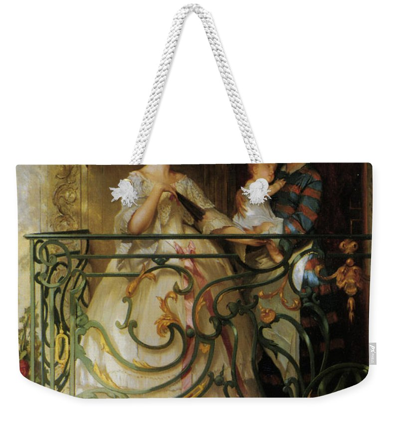 Gustave De Jonghe Weekender Tote Bag featuring the digital art The Balcony by Gustave de Jonghe