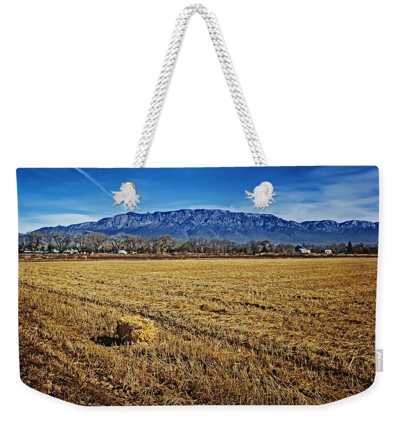 Hay Bale Weekender Tote Bag featuring the photograph The Bale - Sandia Mountains - Albuquerque by Nikolyn McDonald