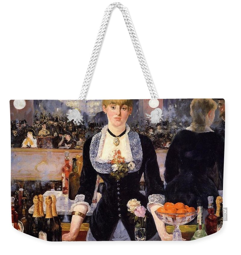 1881-1882 Weekender Tote Bag featuring the painting The Bar At The Folies-bergere by Edouard Manet