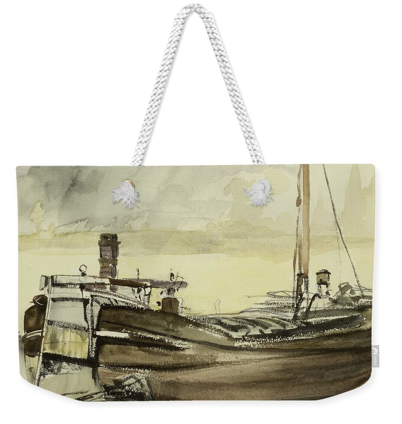 La Peniche; Boat; Ship; Fishing Vessel Weekender Tote Bag featuring the painting The Barge by Edouard Manet