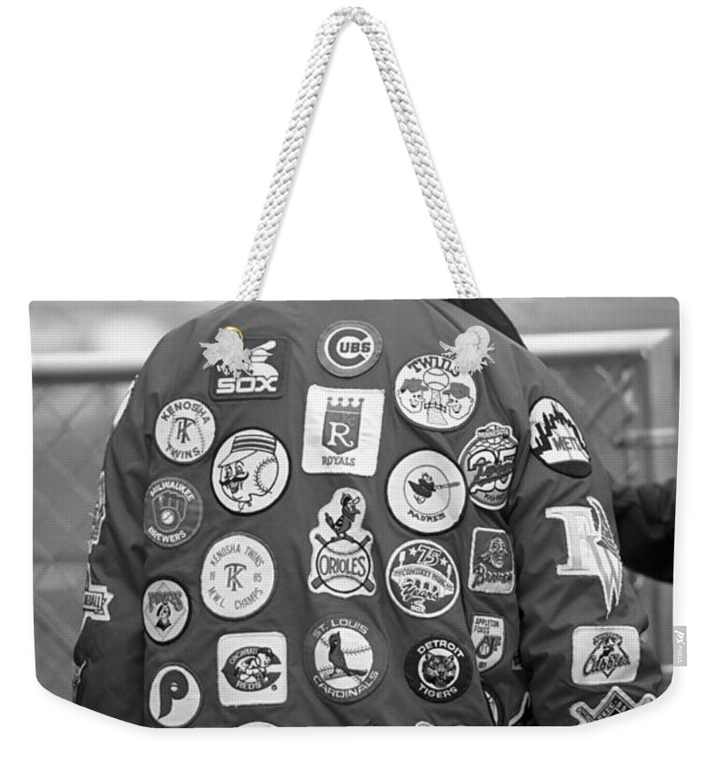 America Weekender Tote Bag featuring the photograph The Baseball Fan by Frank Romeo