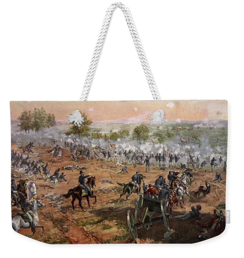 Attack Weekender Tote Bag featuring the drawing The Battle Of Gettysburg, July 1st-3rd by Henry Alexander Ogden