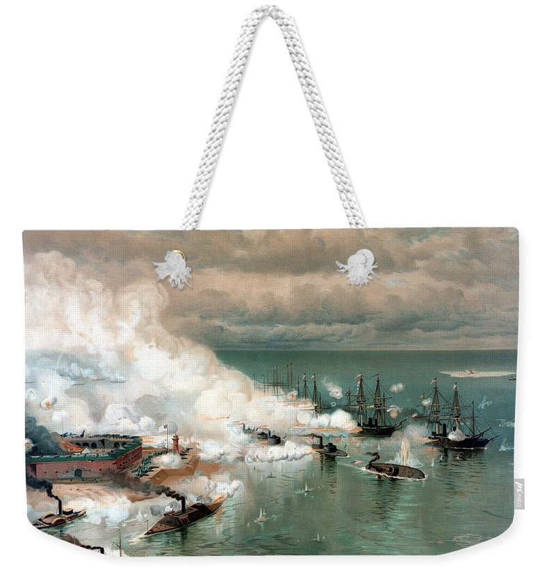 Civil War Weekender Tote Bag featuring the painting The Battle Of Mobile Bay by War Is Hell Store