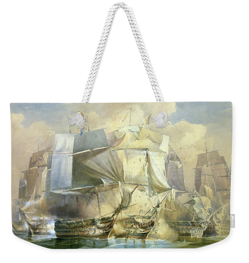 Ship Weekender Tote Bag featuring the painting The Battle Of Trafalgar by William John Huggins