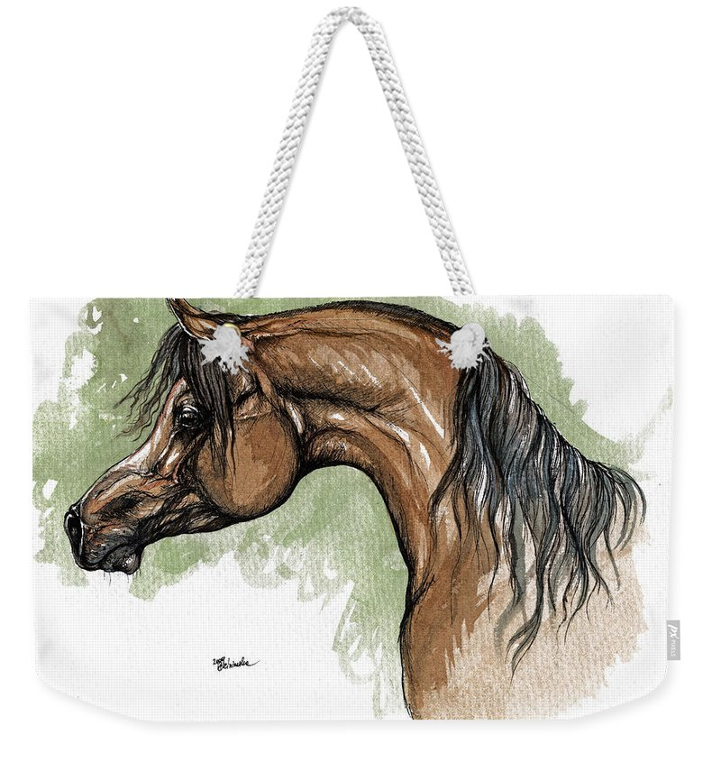 Horse Weekender Tote Bag featuring the painting The Bay Arabian Horse 12 by Angel Tarantella