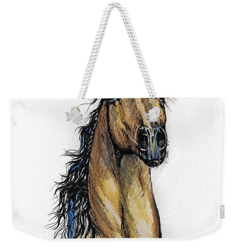 Arab Weekender Tote Bag featuring the painting The Bay Arabian Horse 13 by Angel Ciesniarska