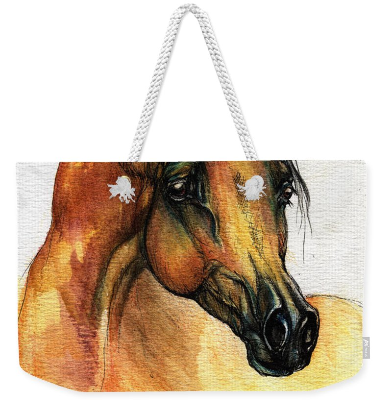 Watercolor Weekender Tote Bag featuring the painting The Bay Arabian Horse 14 by Angel Ciesniarska