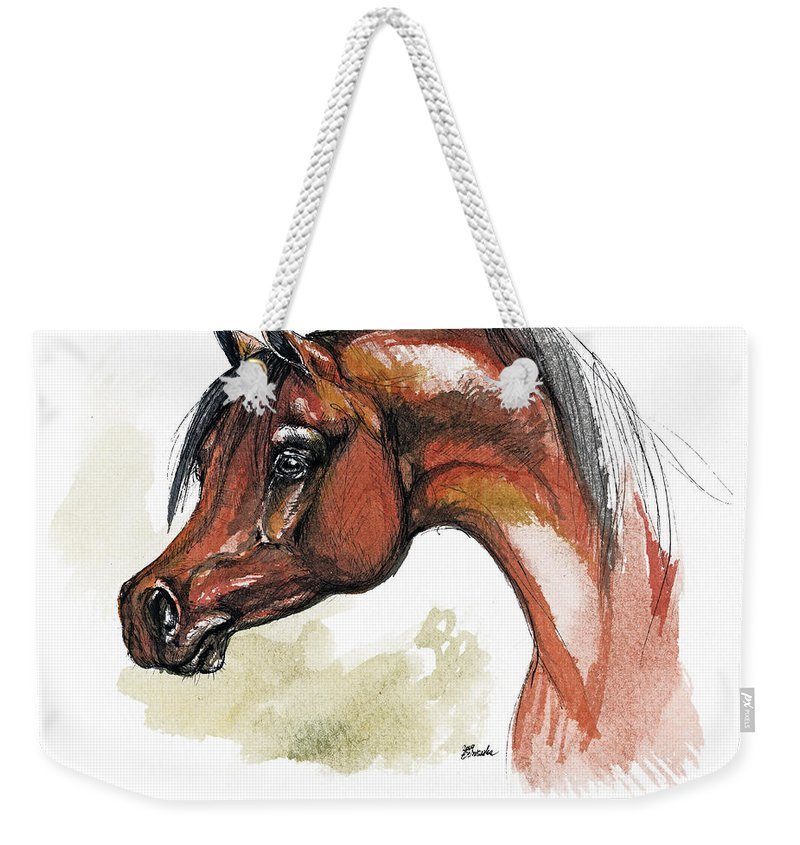 Arab Weekender Tote Bag featuring the painting The Bay Arabian Horse 15 by Angel Ciesniarska