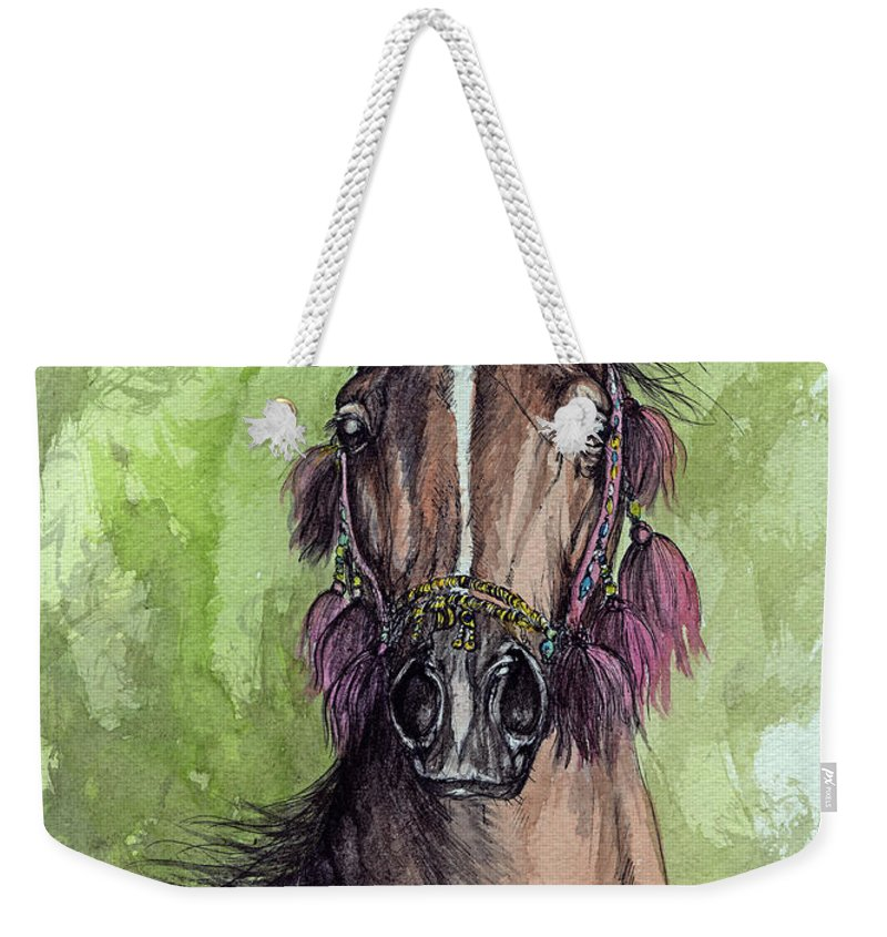 Horse Weekender Tote Bag featuring the painting The Bay Arabian Horse 16 by Angel Tarantella