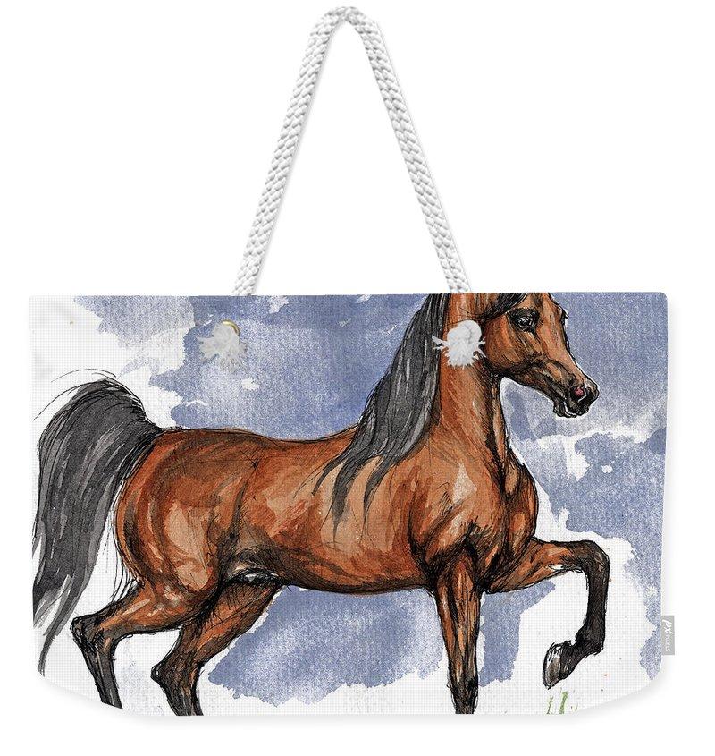 Bay Weekender Tote Bag featuring the painting The Bay Arabian Horse 17 by Angel Tarantella