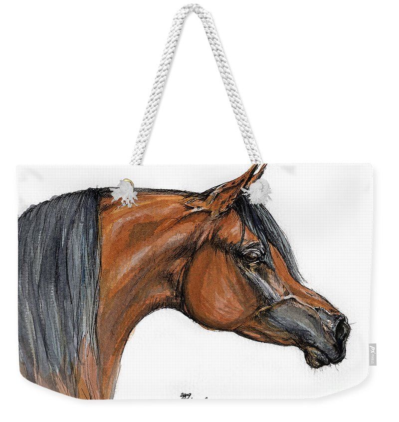 Arabian Weekender Tote Bag featuring the painting The Bay Arabian Horse 18 by Angel Tarantella