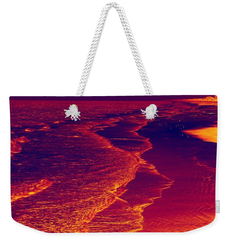 Wide Angle Weekender Tote Bag featuring the photograph The Beach by Anthony Walker Sr