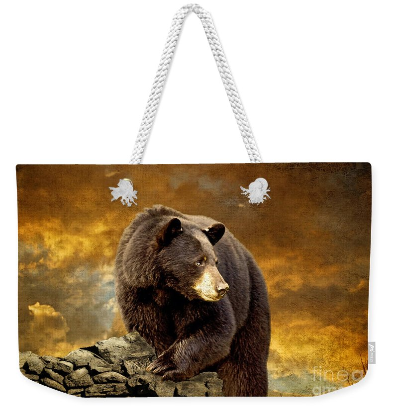 Animal Weekender Tote Bag featuring the photograph The Bear Went Over The Mountain by Lois Bryan