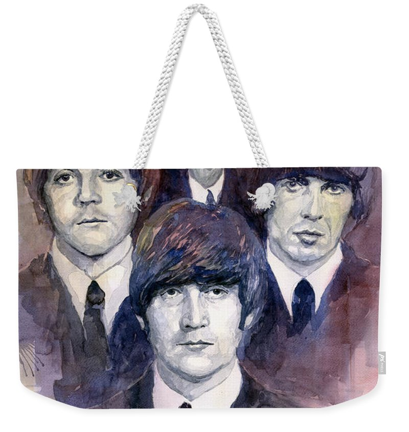 Watercolor Weekender Tote Bag featuring the painting The Beatles 02 by Yuriy Shevchuk