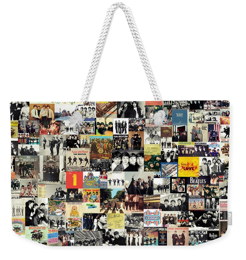 The Beatles Weekender Tote Bag featuring the digital art The Beatles Collage by Zapista OU