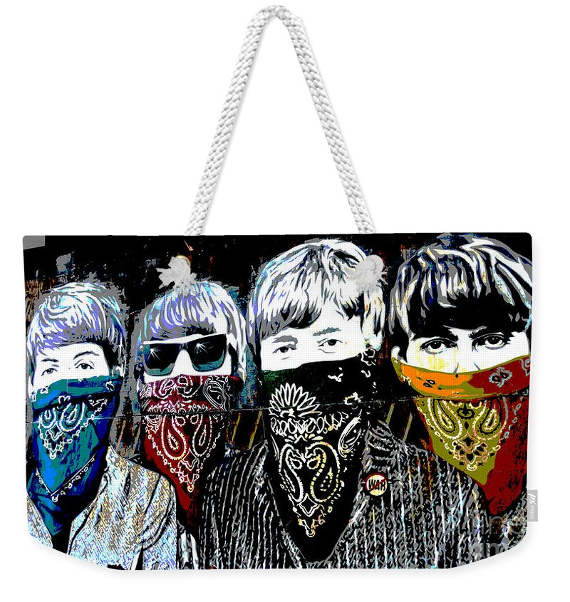Banksy Weekender Tote Bag featuring the photograph The Beatles wearing face masks by RicardMN Photography