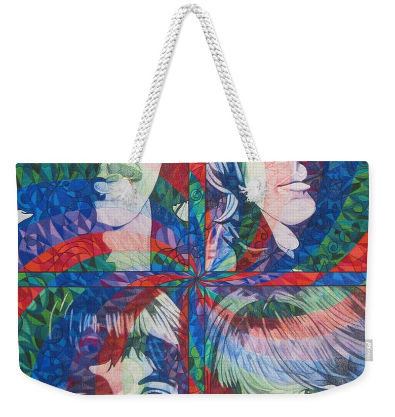 The Beatles Weekender Tote Bag featuring the drawing The Beatles Squared by Joshua Morton
