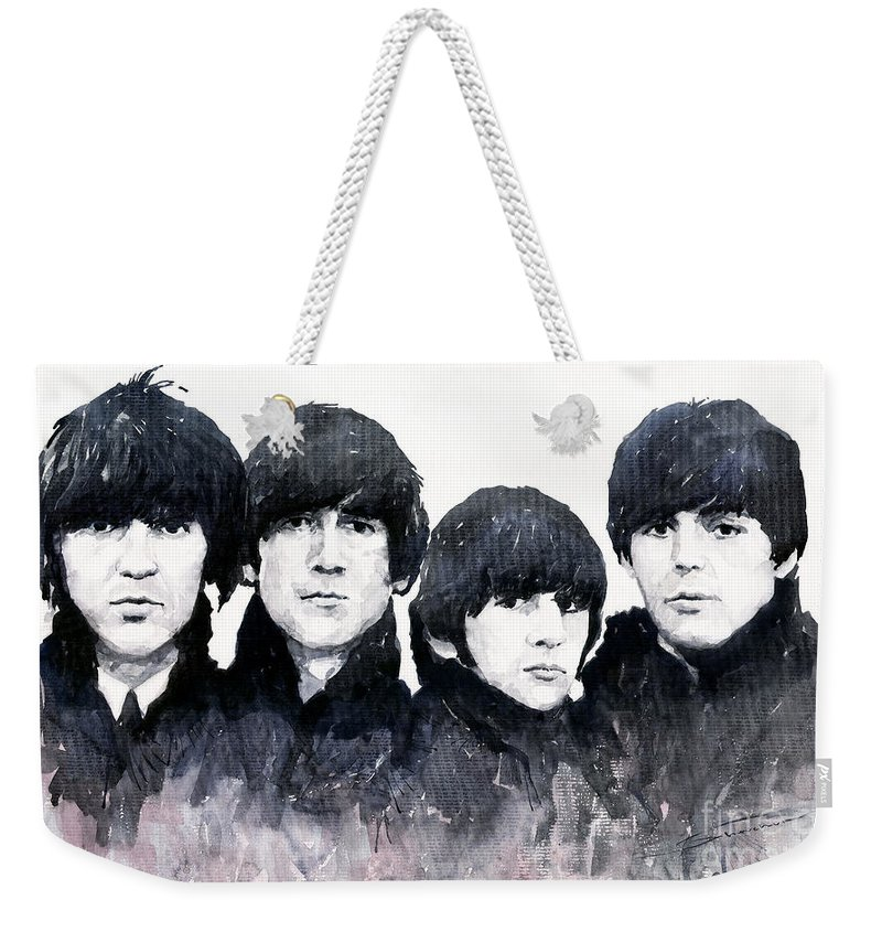 Watercolour Weekender Tote Bag featuring the painting The Beatles by Yuriy Shevchuk